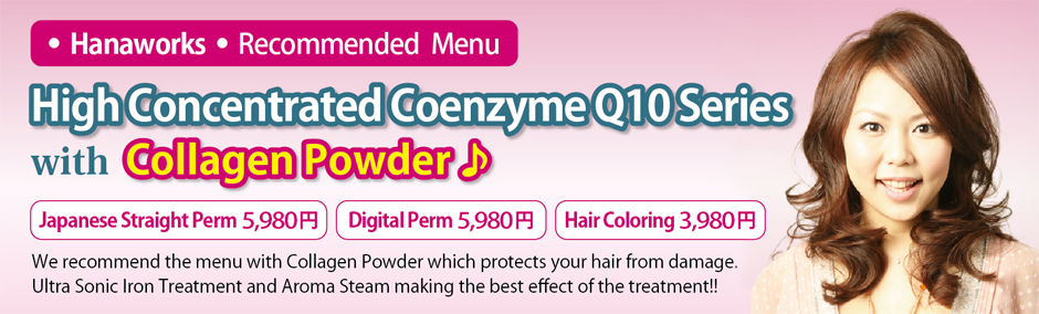 We recommend the menu with Collagen Powder which protects your hair from damage. Ultra Sonic Iron Treatment and Aroma Steam making the best effect of the treatment!!